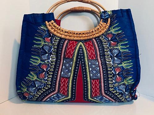 Royal Blue Wicker Handle Bag