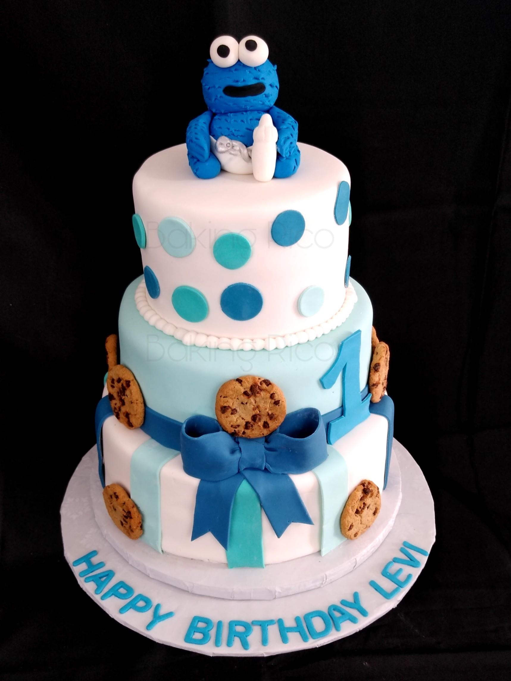 Baby cookie monster birthday cake