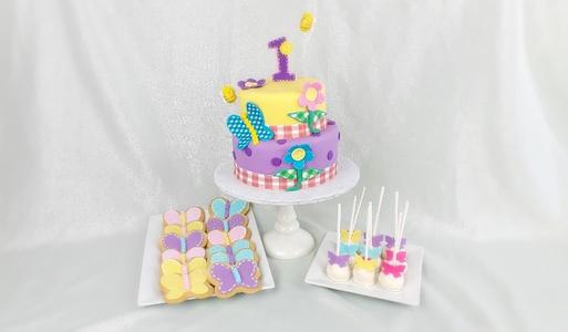 Custom birthday cake, cookies & cake pop