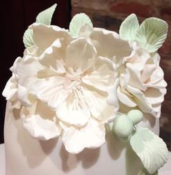 wedding cake white bucket of flower topper