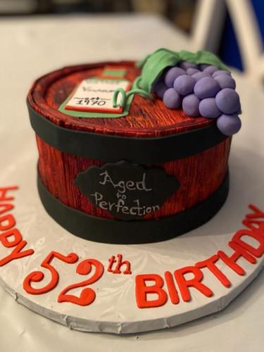 Wine theme birthday cake