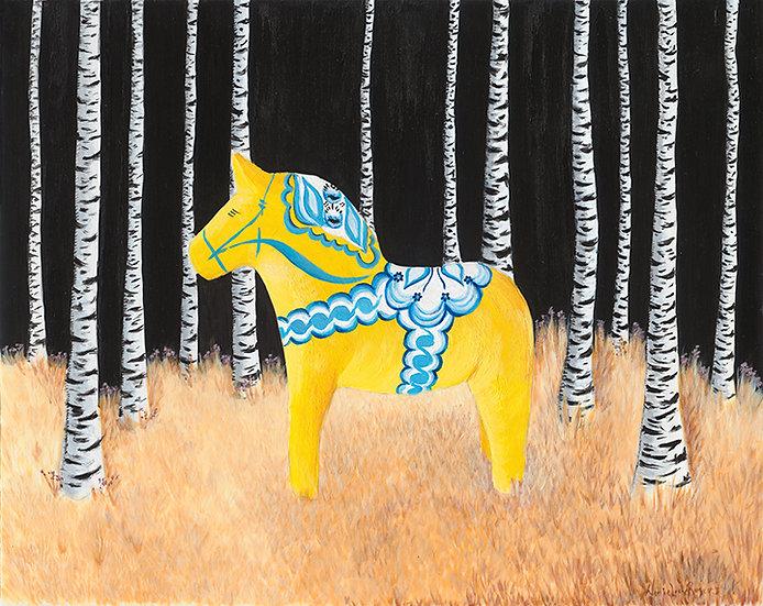 Swedish Dala Horse at Night