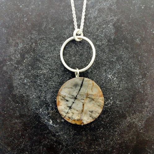 Hardstone pendant in sterling silver.