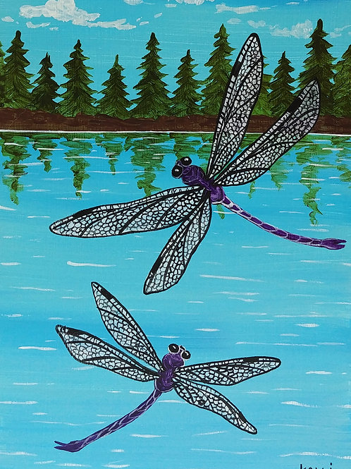 """Dragonflies Over the Lake"""