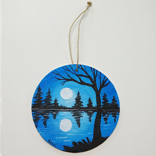 Hand-painted Ornament: Blue Lake Reflections