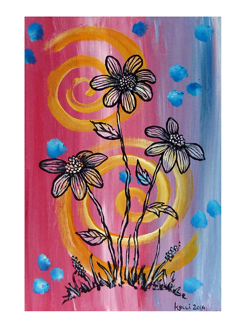 Art Card: Three Flowers on Pink