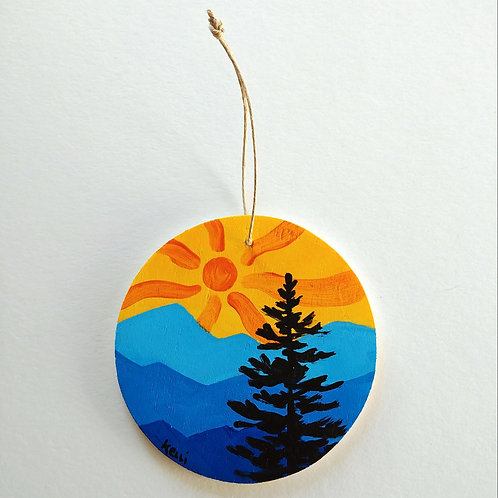 Hand-painted Ornament: Blue Mountains