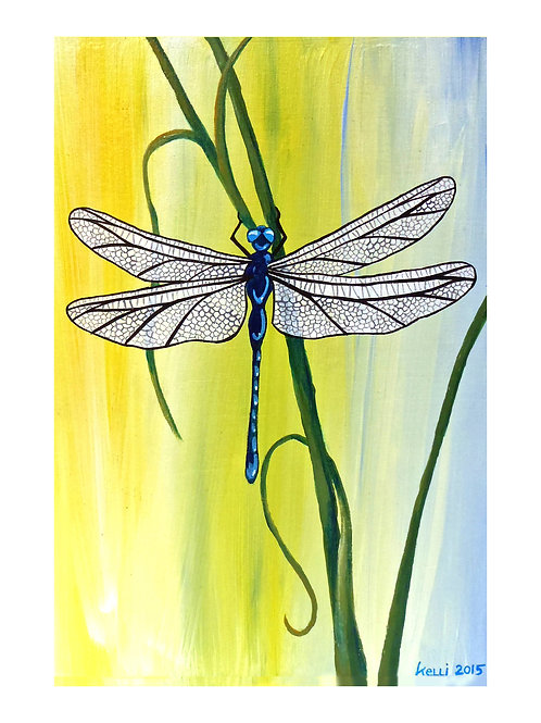 Art Card: Dark Blue Dragonfly on Grass