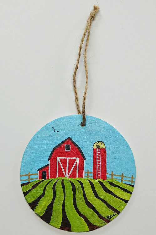 Hand-painted Ornament: Farm