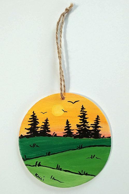 Hand-painted Ornament: Pine Landscape