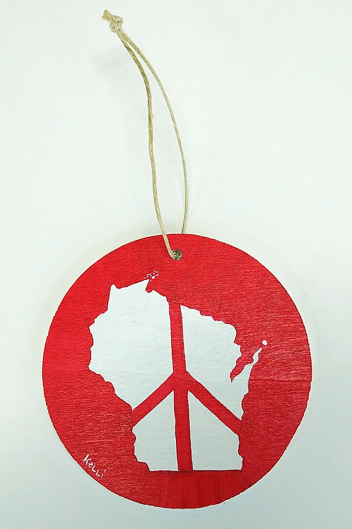 Hand-painted Ornament: WI Peace (red)