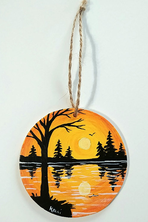 Hand-painted Ornament: Orange Lake Reflections