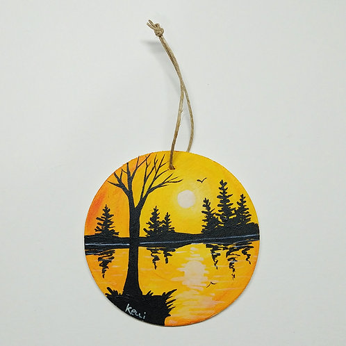 Hand-painted Ornament: Yellow Lake Reflections