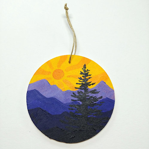 Hand-painted Ornament: Purple Mountains