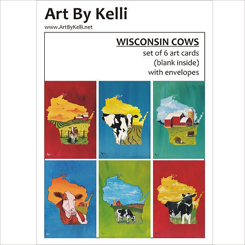 """""""Wisconsin Cows"""" Art Cards Boxed Set"""
