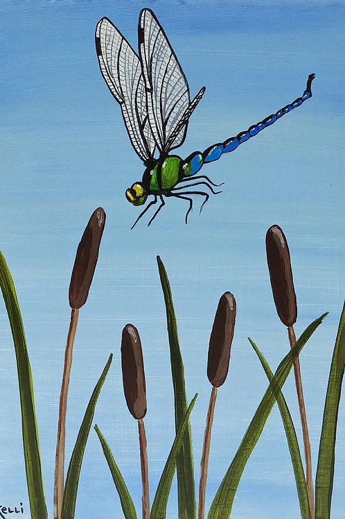 """Dragonfly with Cattails"""
