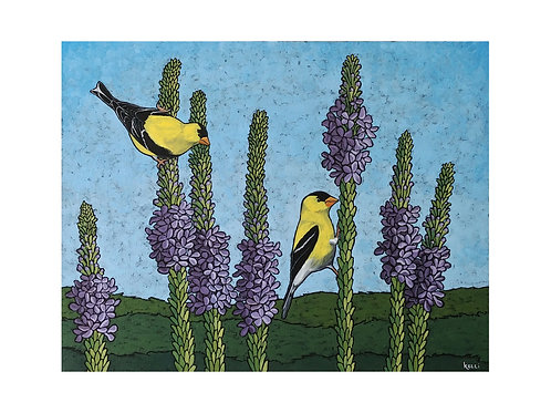 Art Card: American Goldfinches on Purple Flowers