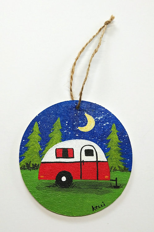 Hand-painted Ornament: Camper