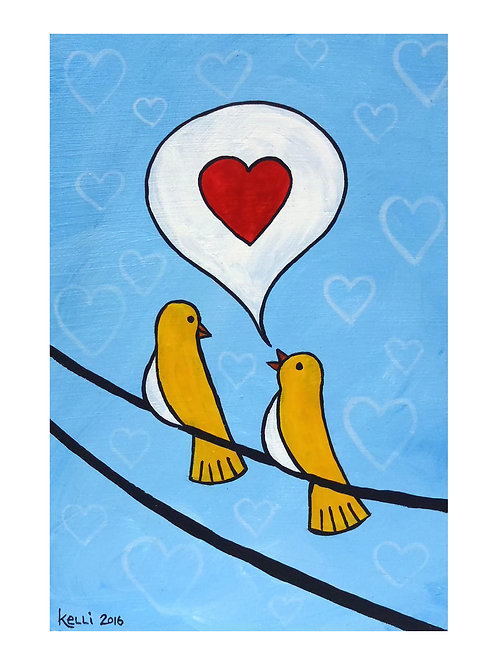 Art Card: Yellow Birds in Love
