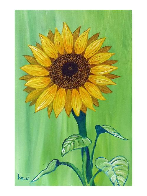 Art Card: Sunflower on Green
