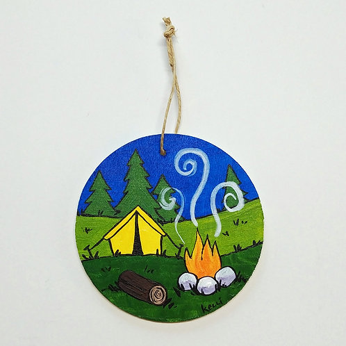 Hand-painted Ornament: Tent Camping