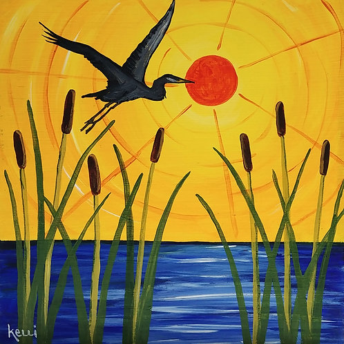 """Heron with Cattails"""