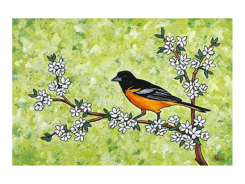 Art Card: Baltimore Oriole on Flowering Branch