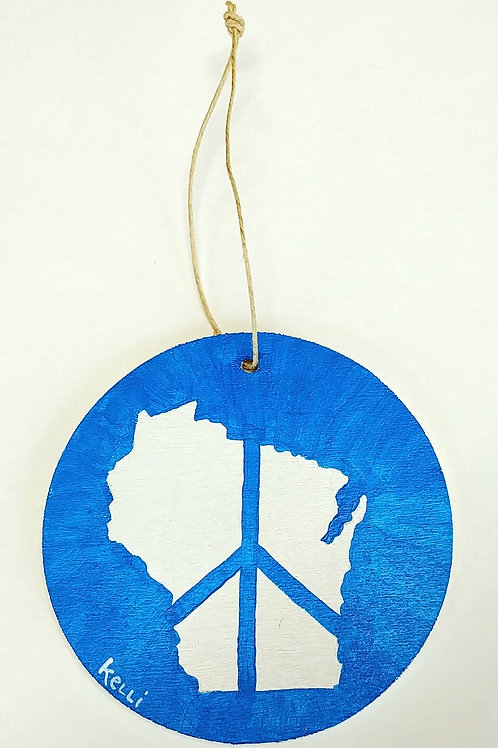 Hand-painted Ornament: WI Peace