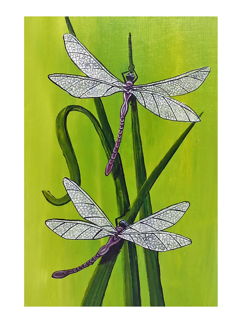 Art Card: Two Purple Dragonflies