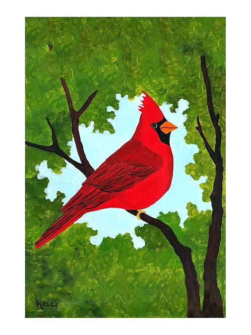 Art Card: Cardinal on Branches