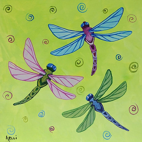 """Three Dragonflies on Green"""