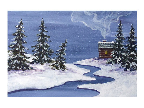 Art Card: Winter Cabin in the Pines