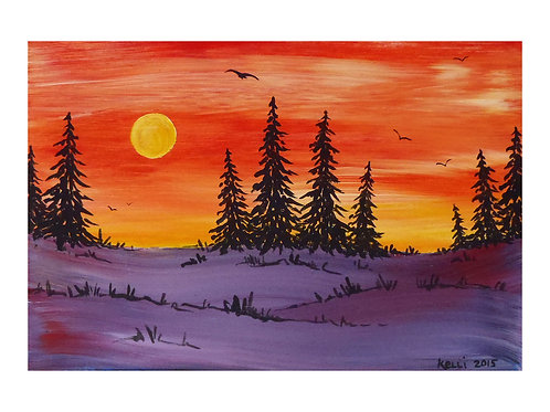 Art Card: Orange-Purple Pines