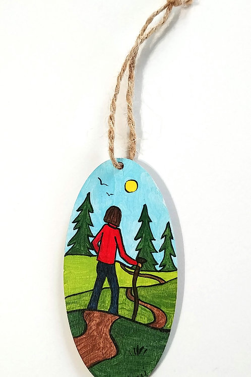 Hand-painted Ornament: Hiker