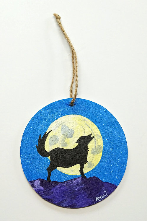 Hand-painted Ornament: Wolf