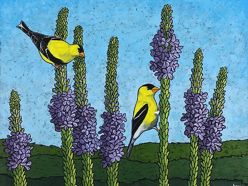 """Two Goldfinches on Purple Flowers"""