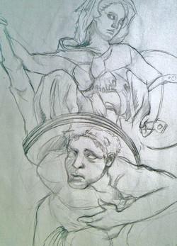 Greek statue pencil study