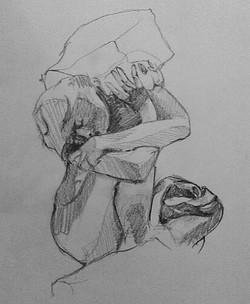 Rodin sculpture pencil study