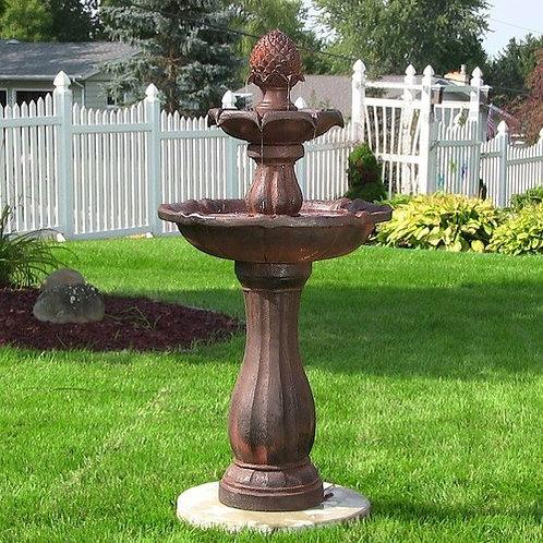 """Sunnydaze 46"""" 2-Tier Pineapple Solar On Demand Fountain-Earth"""