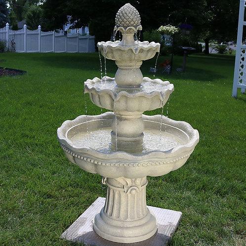 Sunnydaze 3-Tier Pineapple Garden Fountain