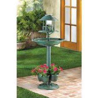 Verdigris Solar Bird Bath Garden Centerpiece