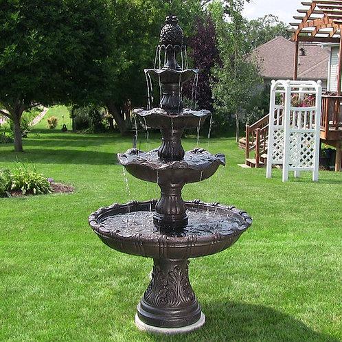 Sunnydaze 4-Tier Grand Courtyard Fountain - Dark Chestnut