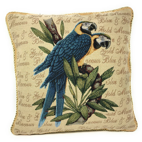 DaDa Bedding Parrots in Love Blue Macaw Bird Elegant Throw Pillow  Cover  - 18""