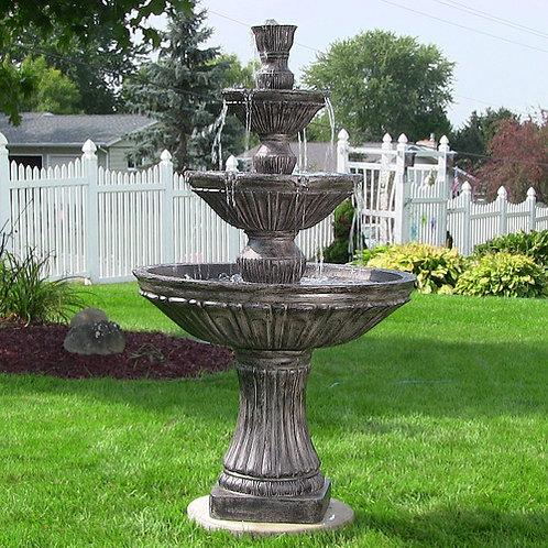 Classic 3-Tier Designer Fountain by Sunnydaze Decor- Dark Brown Finish