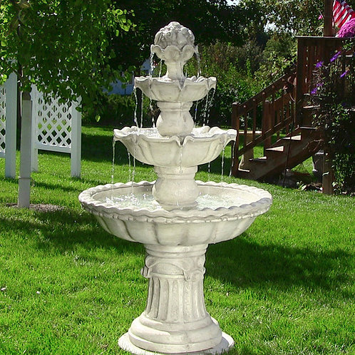 Sunnydaze 4-Tier White Fountain with Fruit Top