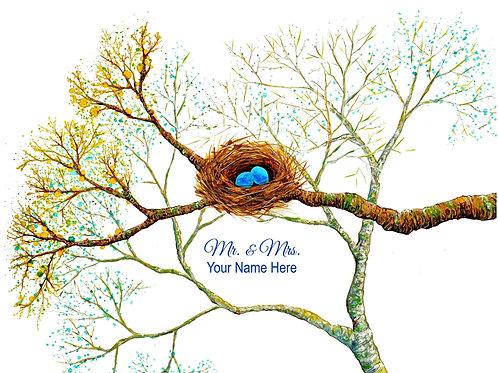 """Bird Nest 11"""" X 14"""" Personalized Print"""