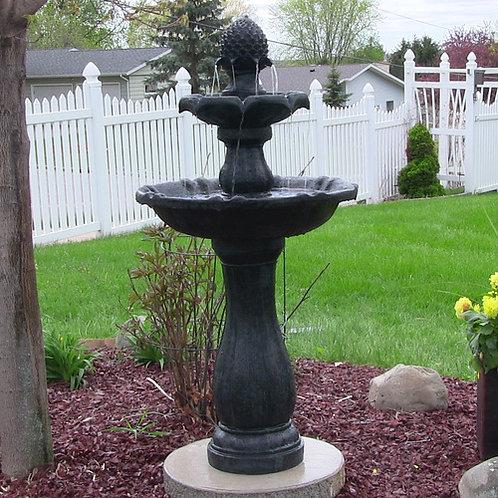 "Sunnydaze 46"" 2-Tier Pineapple Solar On Demand Fountain-Black"
