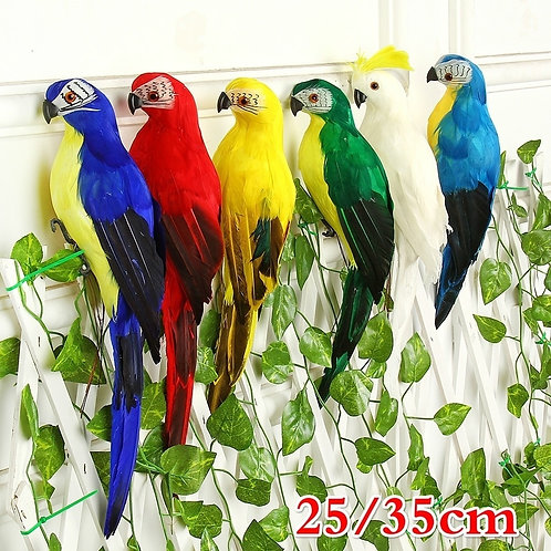 25/35cm Handmade Simulation Parrot Creative Feather Lawn Figurine Ornament