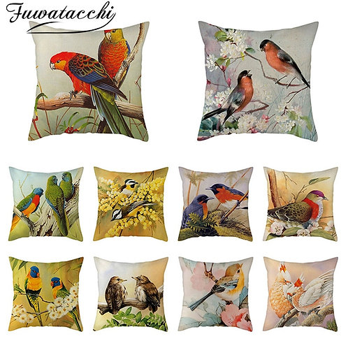 Fuwatacchi Pure Linen Cushion Cover Cute Bird Pillow Cover