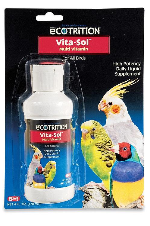 8 in 1 Ecotrition Vita-Sol Bird Multivitamins 4oz
